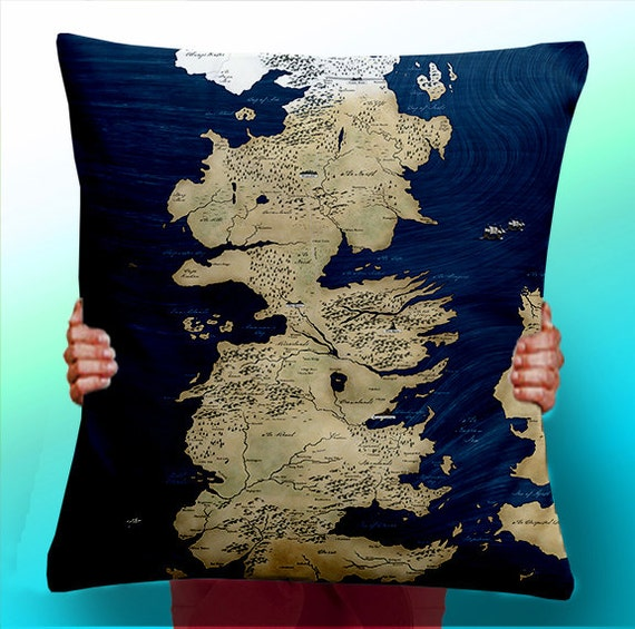 Game of Thrones Map Blue - Cushion / Pillow Cover / Panel / Fabric