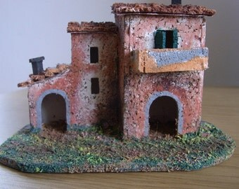 Tuscan Farmhouse..Italian model....Miniature DollsHouse...Christmas Crib...Diorama