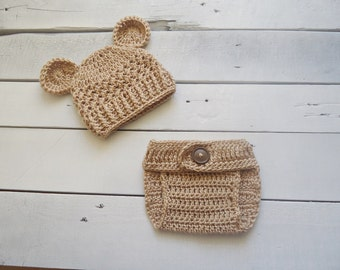 Baby hat teddy bear and diaper cover session photo