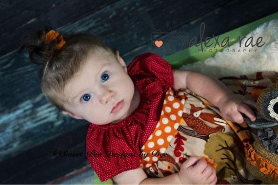 Fall dress, Thanksgiving, infant dress, fox,leaves,berries,short sleeves,burgundy, polka dots