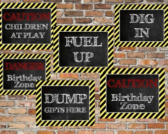 INSTANT Construction Signs Party Door Wall Signs DumpTruck Big Rig Theme Printable Party Decor