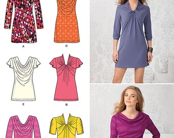 Simplicity Pattern 1716 Misses' Knit Mini-Dress, Tunic and top, with Front Variations