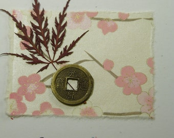 """Hand Made """" HAPPY BIRTHDAY"""" Card, with Cherry Blossom, Fortune Coin, Natural Leaf, Pink Cherry Blossom Birthday Card"""