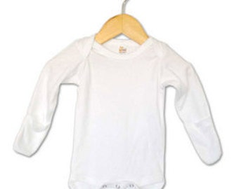 Baby onesie - White Long Sleeve with Mittens