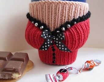 mug cozy, tea cozy, mug warmer boobs, mug warmer, corset mug cozy, cup cozy, knitted mug warmer, boobs knitted, coffee cup cozy, coffee cozy