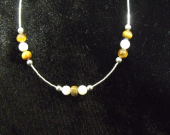 Sterling Liquid Silver and Tiger Eye, Mother of Pearl Necklace - Handmade