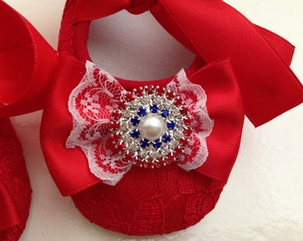 Red lace baby shoes, rhinestone crib shoes, first walker lace shoes, newborn red shoes, 4th of july baby shoes