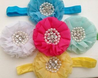 Newborn flower/ rhinestone headband--Baby white and pink headband