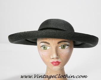 1940s Sibley's Cartwheel Straw Hat, 1940s Hat, Cartwheel Hat, Vintage Hat, Straw Hat, Black Hat, 1940s Straw Hat, 1940s,  Deisigner  Hat