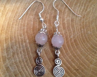 Spiral of Life Rose Quartz Pagan Earrings Gemstone Pagan/Wicca/Witch/Witcraft/Shamanism/New age/Goth/Boho