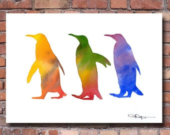 Penguins Watercolor - Abstract Painting - Wall Decor