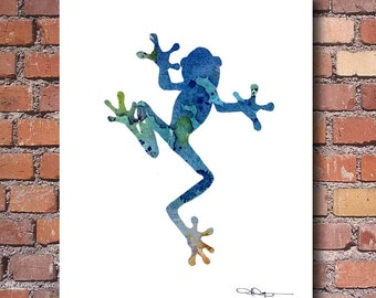 Blue Tree Frog Art Print - Abstract Watercolor Painting - Wall Decor
