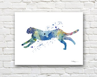 Blue Cheetah Art Print - Abstract Watercolor Painting - Wall Decor