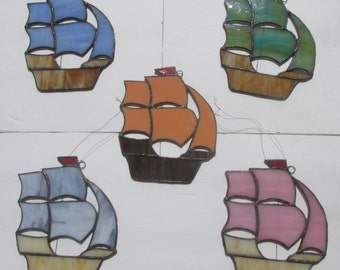 Stained Glass Suncatcher Ship
