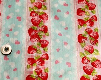 Mint green kawaii Japanese cotton fabric 110x100cm, strawberry stripes