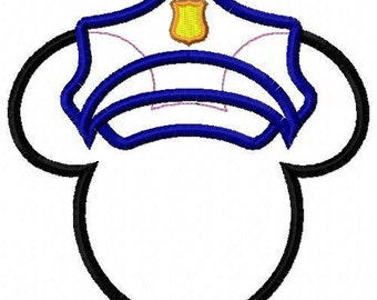 Police Mouse Head Applique Embroidery Design
