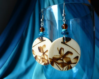 Wooden Dragonflies, Flowers, Shell, Turquoise and Amber Earrings!
