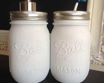 Flat White Ball Mason Jar Soap Dispenser or Toothbrush Holder