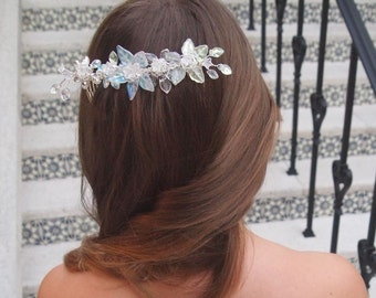 OOAK Handmade Bridal Veil Comb with Hand-wired Czech Glass Flowers and Leaves and Swarovski Crystals #470