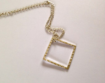 Silver and gold hollow square pendant