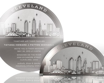 Metal Wedding Invitation of Cleveland Skyline: Stainless Steel Invite Doubles as Wedding Favor, Sculpture and Candleholder that Guests Keep