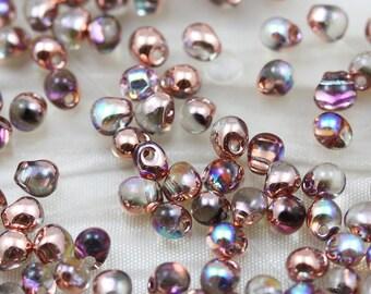 Fancy Magic Color 3.4mm Copper Rainbow  Miyuki Drop Beads - 30grams, fringe beads, drops