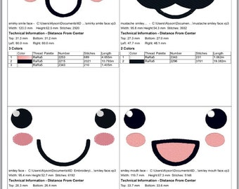Set of Four Kawaii Faces Machine Embroidery Designs
