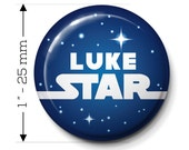 "Star Battles style - 10 personalized button badges-1"" diameter- Pin or Adhesive back"