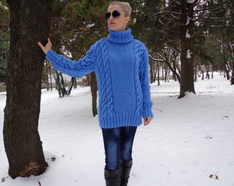 New Hand Knitted  Mohair Sweater, Blue ,Handmade Pullover