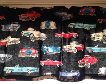Vintage Cars Window Valance ~Man Cave ~ Boys Room~