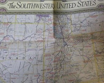 1940 National Geographic Map of Southwest