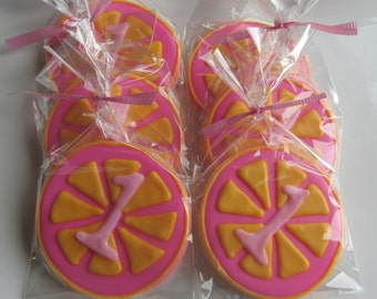 12 pink lemonade theme cookies!