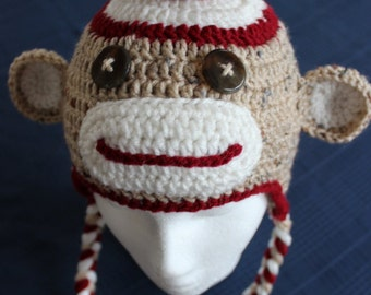 Made to Order Sock Monkey Hat with Earflaps