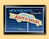 wilseys auto sales wall art, route 66 automobile poster, mid-century hand lettered sign, 12x18 grants new mexico print, vintage sign print