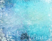 7ft.x7ft. Fozen Snowflake Vinyl Photography Backdrop- Christmas Ice Background