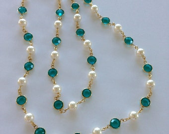 "Vintage Gold Chain Necklace Austrian CRYSTAL , PEARL 70s 80s Turquoise-Greenish 29"" 8mm Round Crystal MidCentury Coco Chanel Look Free shipp"
