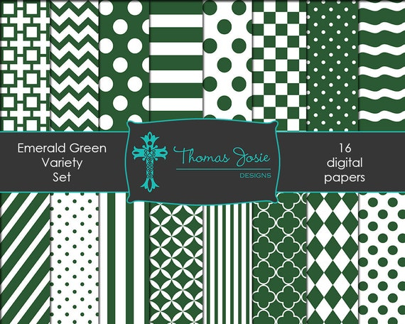 Emerald Green Digital Paper Backgrounds Striped Digital Polka Dot Digital Chevron Digital Quatrefoil Party Paper 8.5 x 11 - Instant Download