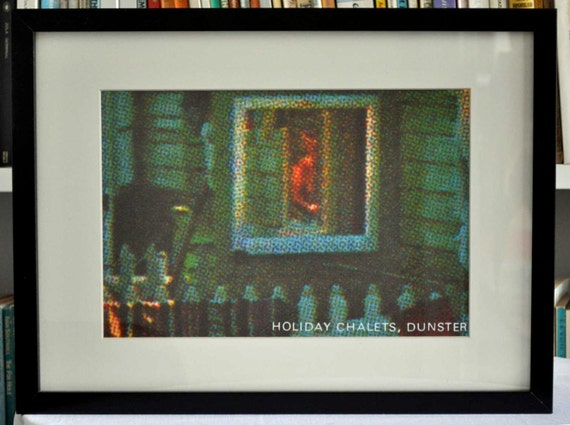 A framed, limited edition print by Jane Housham: 'Holiday Chalets, Dunster 2'