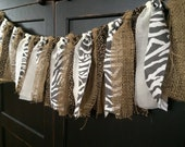 Rustic Safari Fringe Rag Tie Garland, Bunting, Banner, Backdrop, Photo Prop in Burlap, Leopard, Zebra Print Fabric