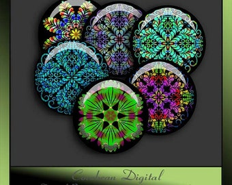 Kaleidoscope Flowers2 collage sheet  for your crafting projects.