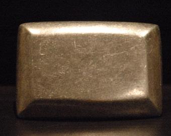 Men's Rectangle Steel Belt Buckle - For Snap Leather Belt -  sterling silver plated