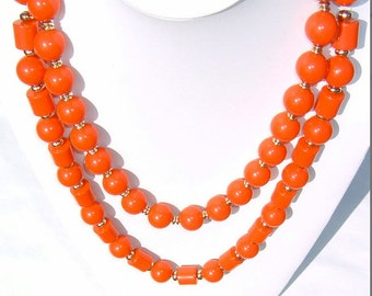 80s Electric Crimson Red colored Beads of Various Shapes and Sizes 2 Necklaces