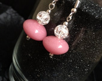 Crystal Ball and Pink Stone Dangle Earrings