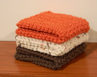 "Set of 3 - 9"" x 9"" Crochet Dishcloth - Handmade Cotton Washcloth"