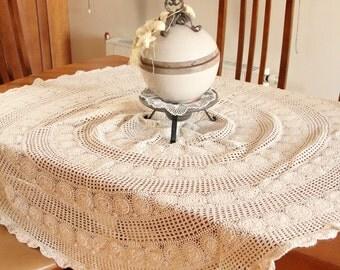 Circle Cream Color Handmade Vintage Lace Tablecloth
