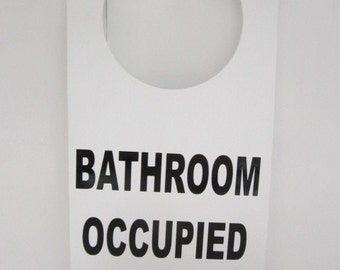 Occupied sign etsy for Bathroom occupied sign