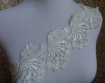 1 yard Venise lace trim in white for wedding, sashes, gown shoulder, headbands, applique, costumes