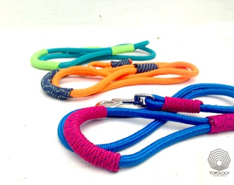 Rope dog leash - Fresh Colorful climbing rope combinations -  Blue - Orange - Sporty Leashes for Stylish Athletic Canines !