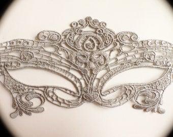 Silver Glitter Mask Silver Masquerade Mask Silver Lace Mask Phantom Mask Fox Mask