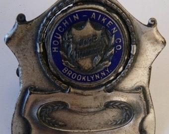 Houchin Aiken Co advertising paper clip soap machinery Victorian desk antique vintage enamel blue